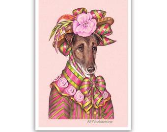 Smooth Fox Terrier Art Print - Lady Flora - Cute Dog Art, Pink Dog Prints - Dogs in Clothes Art - Pet Kingdom by Maria Pishvanova