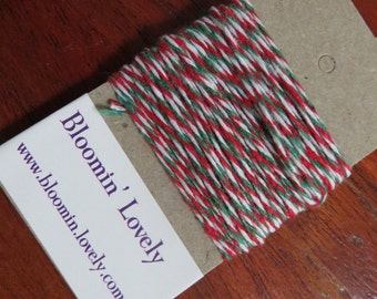 5m Christmas (red, green, white) twine/gift wrapping string