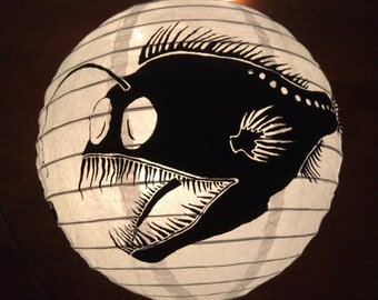 Hand painted paper lantern with anglerfish