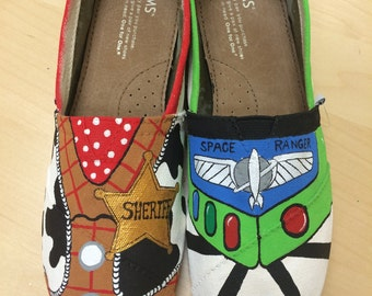 Buzz and Woody Painted TOMS
