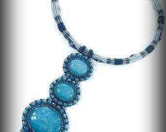 Aurora necklace Imagination By Em blue statement piece statement necklace large blue necklace chunky blue necklace aqua quartz necklace