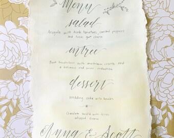 Watercolor Calligraphy Custom Menu