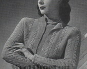 Knitting Pattern Ladies Vintage 1940s Cable Design Twin Set  Jumper  Cardigan. 35 37 Bust.