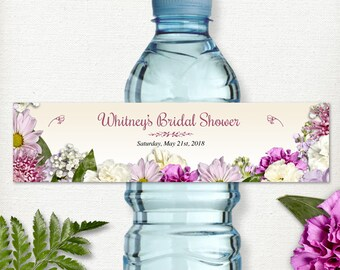 "Printable Rustic Spring Flowers Water Bottle Labels for Bridal Wedding Shower; Personalized 8"" x 2"" Labels - Editable PDF, Instant Download"