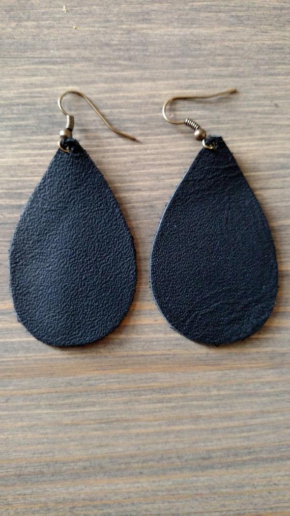 Black Teardrop Earrings Teardrop Leather Drop By Lovespangle