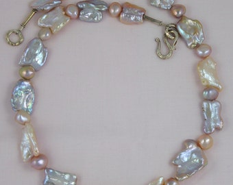 Large Natural Variegated Pink Freshwater Keishi Pearls