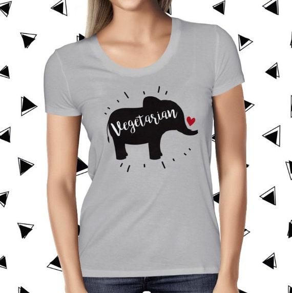 Elephant Shirt - Cute Vegetarian Tee - Funny Vegetarian Shirt - Plant Based Tee - Vegetarian Tshirt for Women - Save Animals Tee