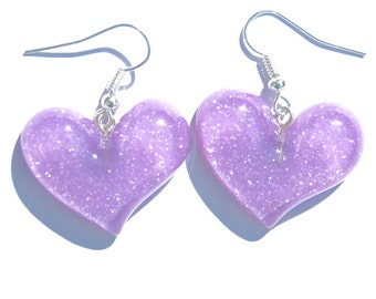 Love heart earrings glitter purple CUTE kawaii