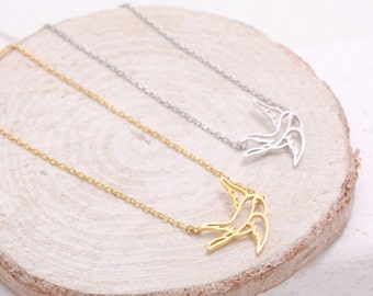 Swallow Pendant Necklace, Sparrow Charm Necklace