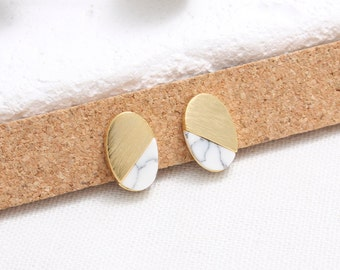 White Howlite Oval Stud Earrings, Ellipse White Marble Stud Earrings