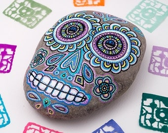 Sugar Skull Stone | Sugar Skull Decor | Halloween Art | Halloween Decoration | Sugar Skull Painted Rock | Halloween Garden