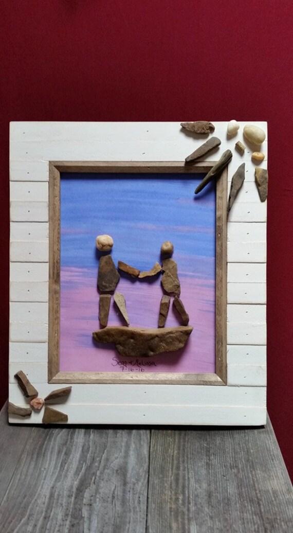 Stone Art Wedding Gift : Stone art, personalized, wedding gift, pebble couple art