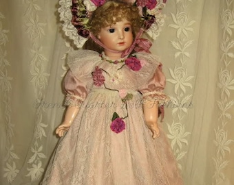 """22"""" French Doll Dress Pattern Antique Style ~ ANGELICA"""