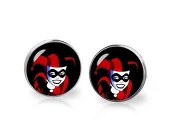 Harley Quinn Earrings Fandom Jewelry Harley Quinn Studs  Cosplay Fangirl Fanboy