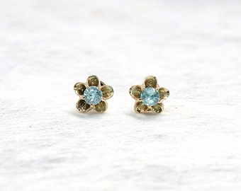 Antique Stud Earrings | Gold Flower Stud Earrings | Blue Zircon Stud Earrings | Antique Jewelry | Antique Jewellery | Vintage Earrings
