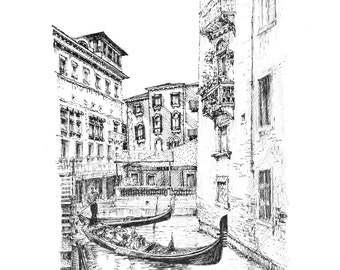Venice Art Graphic /Hand Made with INK/ WAWAMAMA