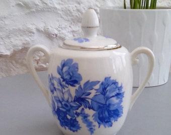 Vintage blue and white china suger bowl, bonbon jar.