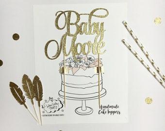 Custom Gold Topper, Paper Topper, Gold Glitter Topper, Birthday Cake Topper, Glitter Name Topper, Gold Glitter Cake Topper