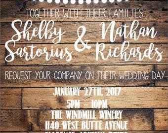 Rustic Wedding Invitation (Digital Download)