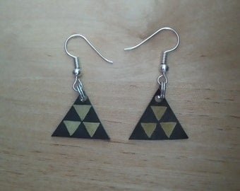 Triangle black and gold earrings