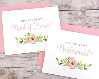SET OF Will You Be My Bridesmaid Cards, Maid of Honor Cards, Flower Girl Cards, Matron of Honor Cards - (FPS0013)
