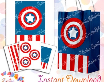 Captain America Printable Favor Box DC Superhero Digital Goody Treat Bags Decoration Birthday Party Supply Avengers Justice League Design