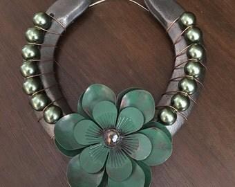 Green Floral & Pearl Beaded Horseshoe