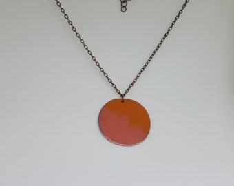 Orange and Clear Enameled Circular Pendant