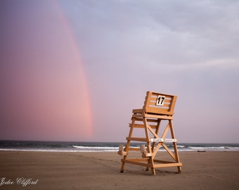 SALE: Beach rainbow at Wildwood Crest lifeguard stand number 17, shore house decor beach style art pink purple Lucky Star Dreams photography