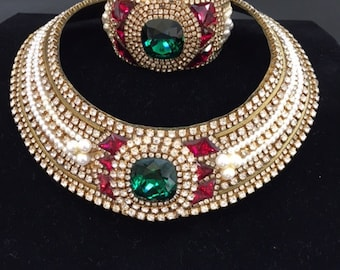 Vintage Hansen 1989 encrusted collar necklace and bracelet.  Signed.