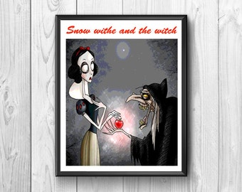 Snow white and the  witch.Snow and the witch posters .witch print, snow white print ,for kids room