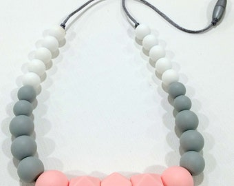 Ellie - Soft Pink, Glacier Grey and Snow White Silicone Teething Necklace