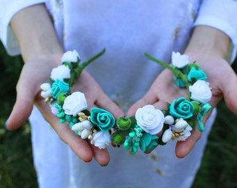 Flower head wreath Rustic Floral Crown Green White Rose Crown Flower Crown Flower Head Wreath Headband Green Wedding Crown Green Head wreath