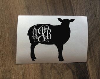 Sheep Lamb Monogram Decal Sticker / Yeti Sheep Decal / FFA Sheep Monogram / Car Ag Lamb 4H 4-H Project Decal / Sheep Lamb Animal Decal