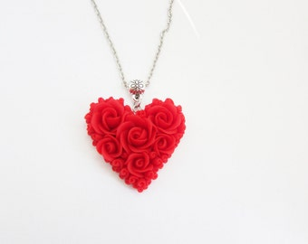 Heart necklace red rose Heart pendant Polymer clay  Valentine's day gift ideas Red heart necklace Jewelry handmade