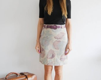 Vintage 80s Pencil Skirt with Purple Belt - UK 8/10