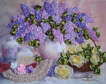 "Picture embroidered ribbons ""Purple noon""."
