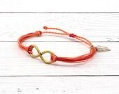 Custom Gold Infinity Bracelet, Wax Cord Surfer Bracelet, Boho Friendship Bracelet, Stacking Beach Bracelet, Waterproof Waxed Cord Bracelet