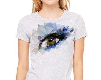 Eye polygon image  printed on a heather gray t-shirt, women's t-shirt, gray tee