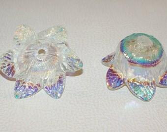 Glass chandelier parts for 70/80 years AB Iris Sciolari Venini Murano Murano chandelier 6 Flower petals, spare original Iridescent