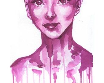 Audrey Hepburn Watercolor Drip Print