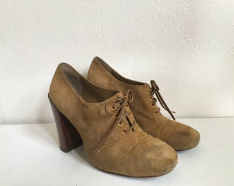 70's Inspired Tory Birch Lace-up Oxford Heels Women's 8