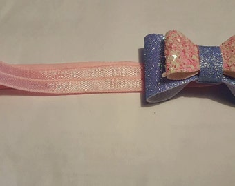 lilac and candyfloss bow headband