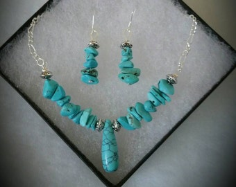 Turquoise Protection&Intuition Set -Earrings and Necklace- Healing Crystals- Turquoise- Natural Stones-  Gemstones - Sterling Silver Jewerly