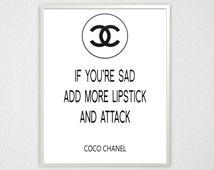 Coco Chanel Quote Desk Accessory Chanel Party Favors Fashion Wall Art Apartment Decor