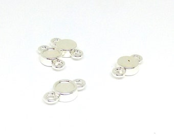 2 Silver Plated Link Settings, 7mm Round Flatback Setting for Swarovski Rhinestone, Tiny Link Connectors, Jewelry Findings, TM6503