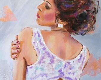 Original figurative painting, woman figurative,figurative art,original oil,modern woman,elegance woman