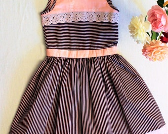 Pink and Brown striped dress, pink cotton lace