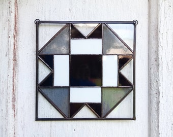 Stained Glass Quilt Block Suncatcher Black and White Square Pattern Folded Corners