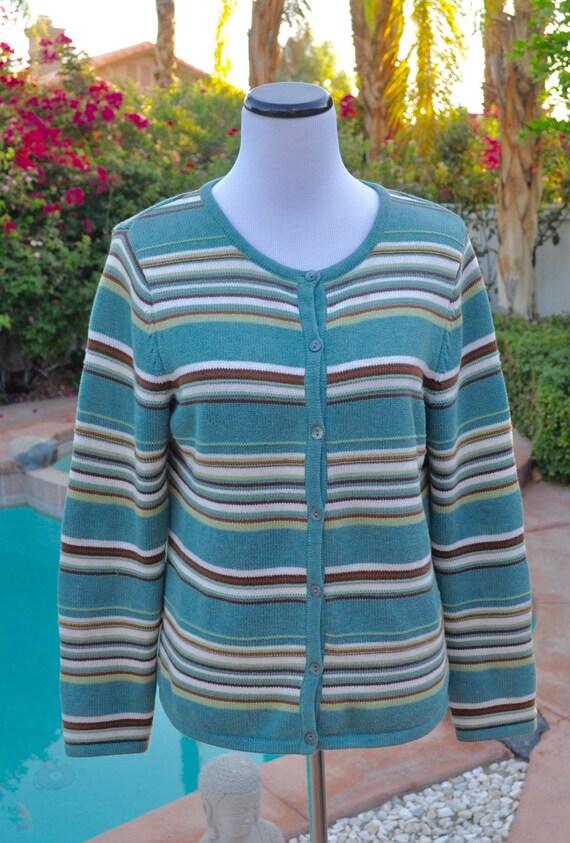 Pendleton Green and Cream Striped Cotton  Lightweight Cardigan Sz M